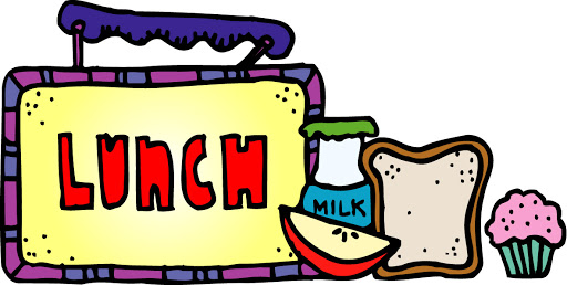Lunch image shows a lunch box, a slice of an apple and a small bottle of milk.